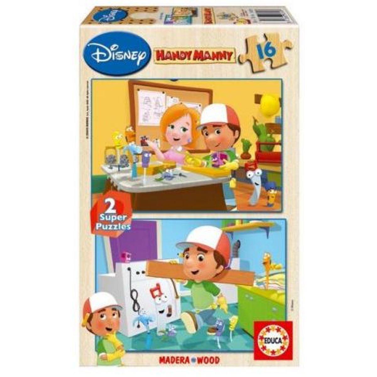 Dřevěné puzzle Handy Manny 2x16 dílků