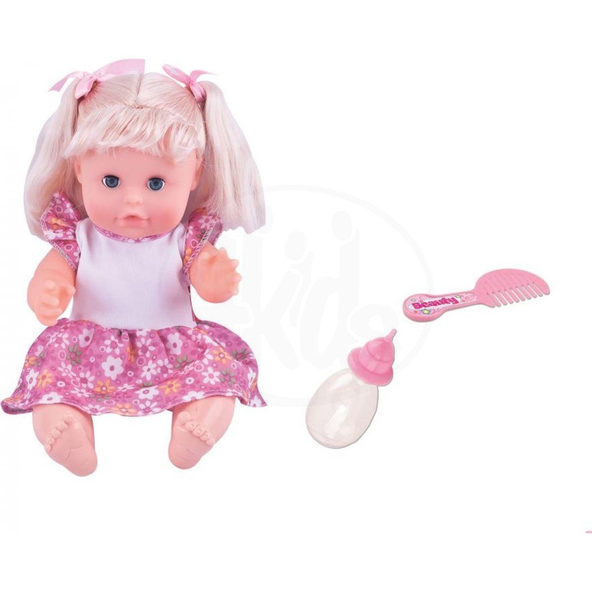 Dimian Panenka Bambolina s hřebínkem a kojeneckou lahvičkou 30 cm
