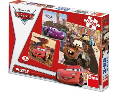 Dino Cars Puzzle Auta v akci 3x55dílků