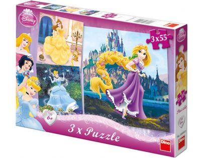 Dino Dětské puzzle 3v1 Disney Princezny 3 x 55 dílků