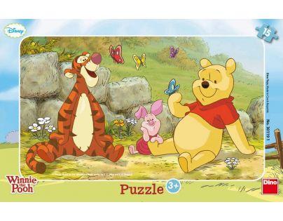 Dino Medvídek Pú Puzzle deskové Medvídek Pú mezi motýly 15dílků