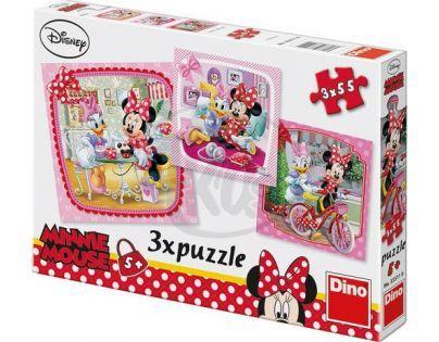 Dino Disney Puzzle Minnie na návštěvě 3 x 55 dílků