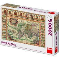 Dino Historická Mapa Světa puzzle 2000 dílků