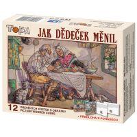 Dino Jak dědeček měnil dřevěné kostky 12 dílků s leporelem