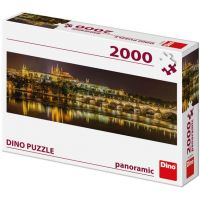 Dino Karlův most v noci panoramic puzzle 2000 dílků