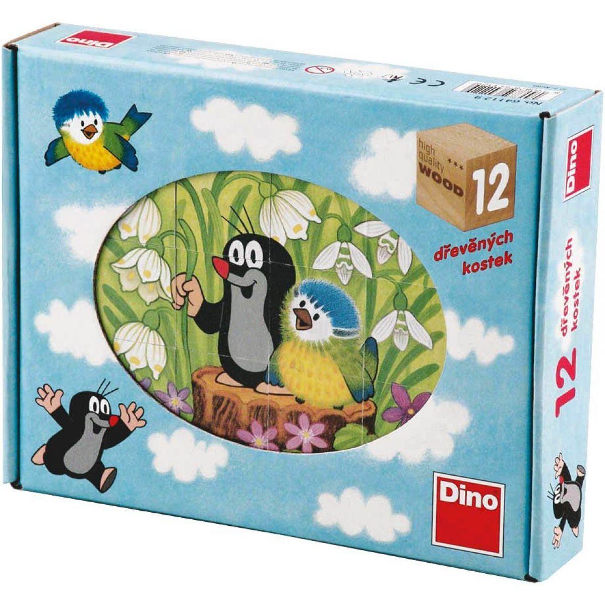 Dino dřevěné kostky krtek a ptáček 12 kostek