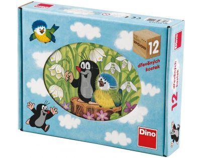 Dino Krteček Dřevěné kostky Krtek a ptáček 12 ks