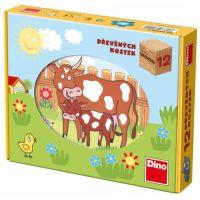 Dino Kostky kubus Domácí zvířátka dřevo 12 ks