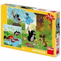 Dino Krteček a kalhotky puzzle 3 x 55 dílků