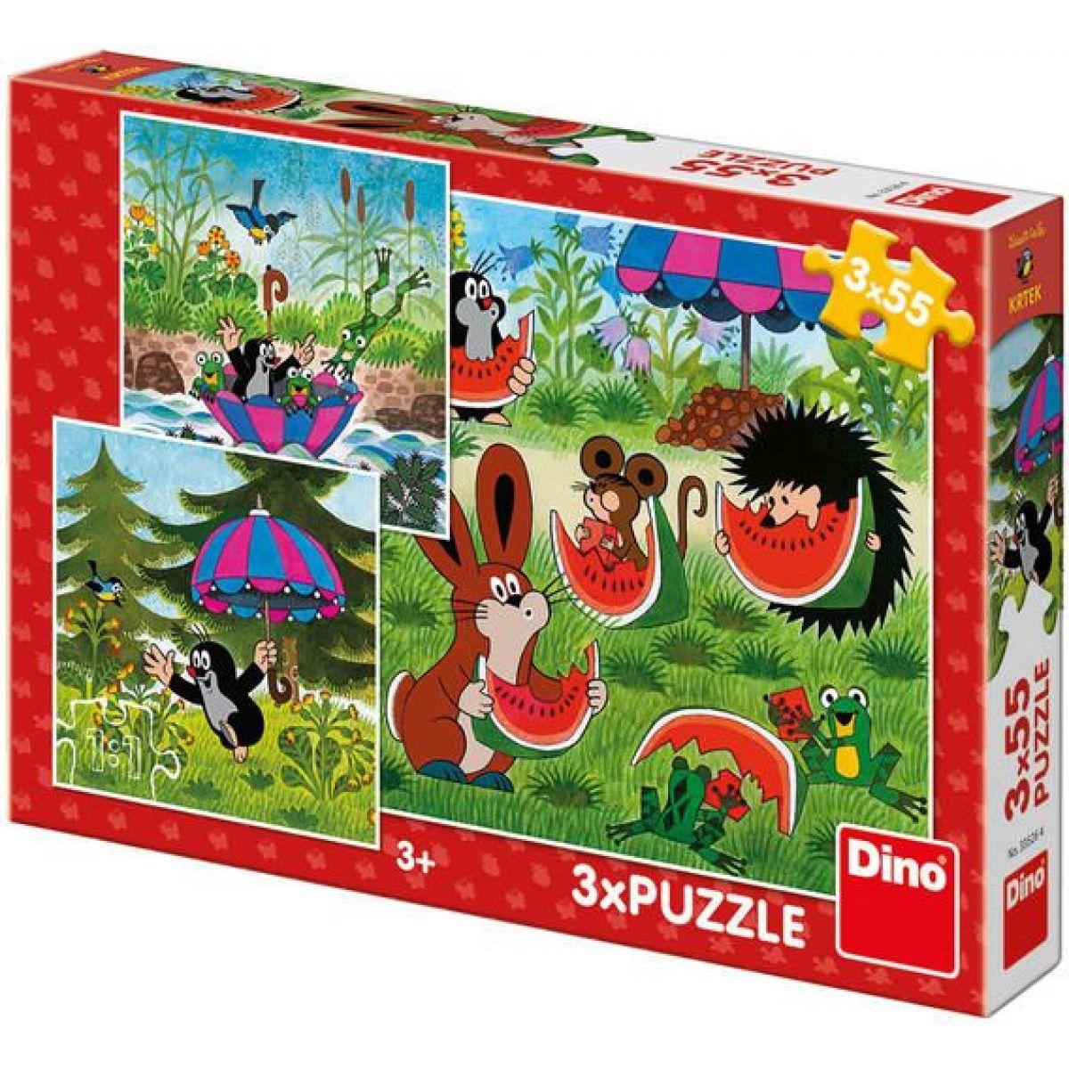 Dino Krteček a paraplíčko puzzle 3 x 55 dílků