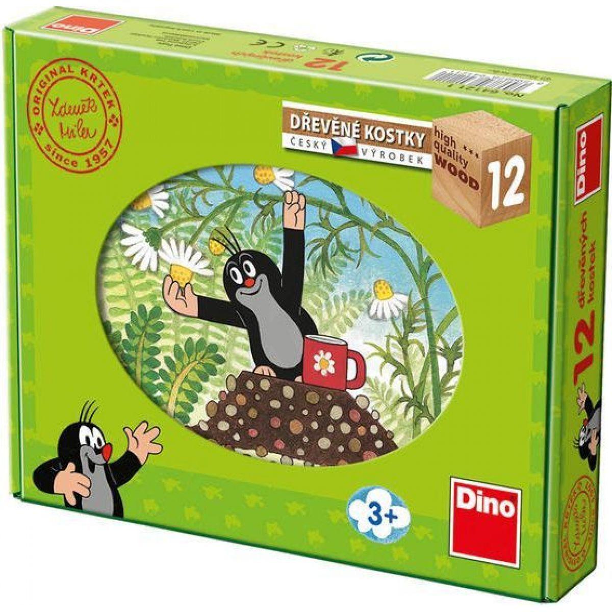 Dino Dětské dřevěné kostky Krtek a přátelé 12 kostek