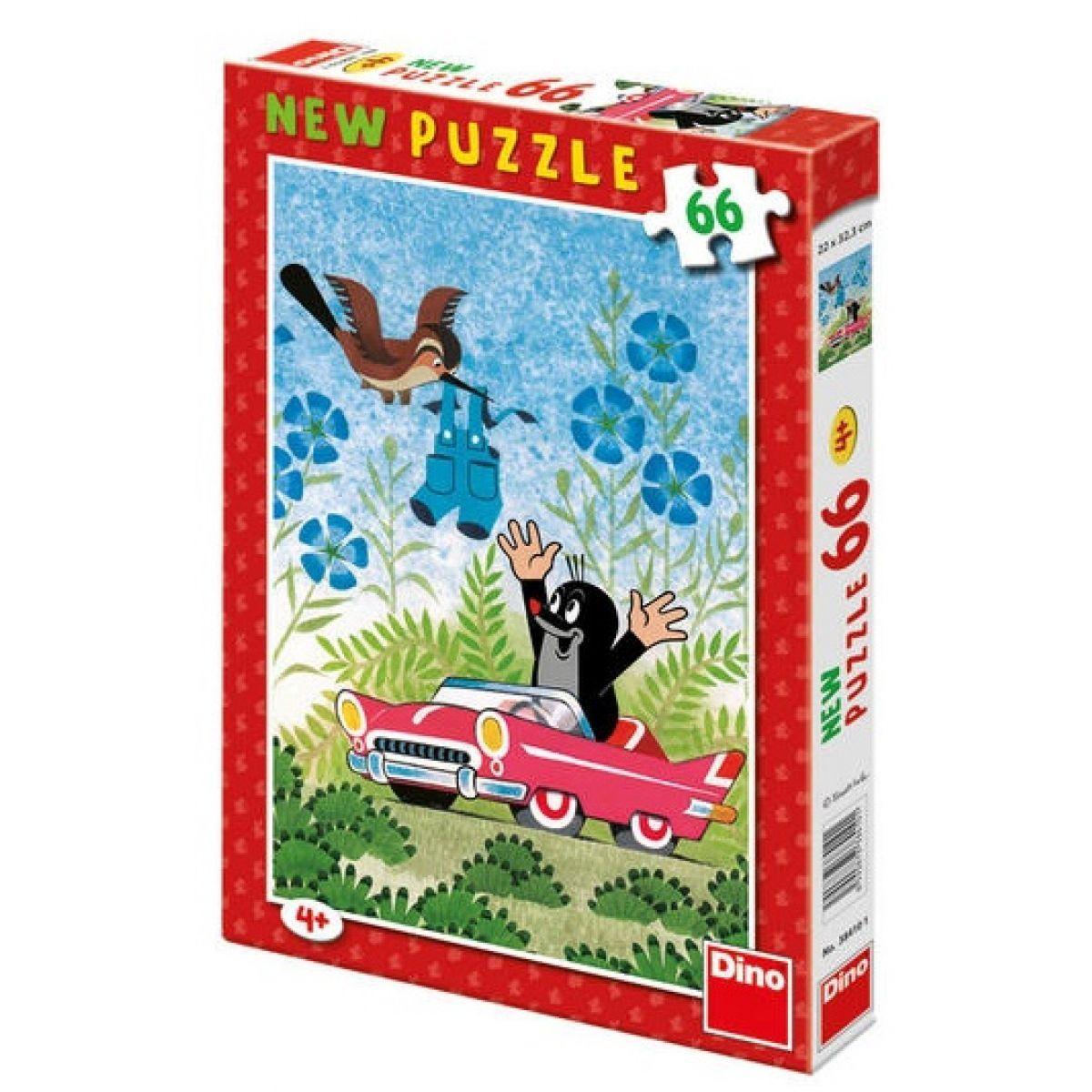 Dino Krteček Puzzle Krtek a auto 66 dílků