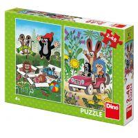 Dino Krtek se raduje puzzle 2 x 48 dílků