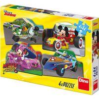 Dino Mickey a Minnie na závodech puzzle 4 x 54 dílků