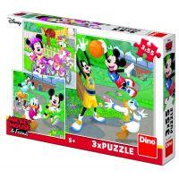 Dino Mickey a Minnie sportovci puzzle 3 x 55 dílků