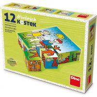 Dino Pejsek a kočička 12 dílků dřevěné kostky
