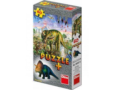 Dino Puzzle Dinosauři s figurkou 60 dílků - Triceratops
