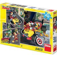 Dino Mickey a Minnie závodníci 3 x 55 dílků puzzle