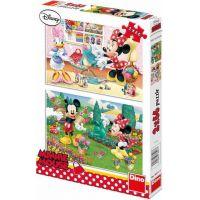 Dino Puzzle Disney Mickey Mouse pracující Minnie 2 x 66 dílků