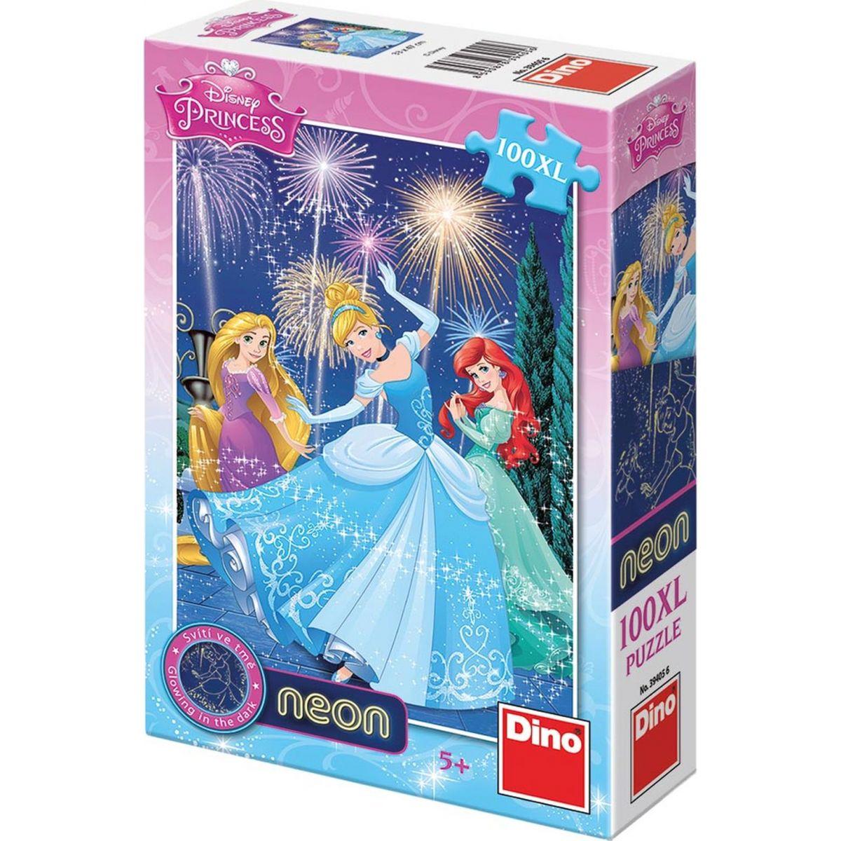 Dino Puzzle Disney Princezny neon 100 XL dílků