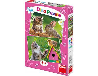 Dino Puzzle koťátko a kamarádi 2x48 dílků