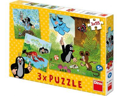 Dino Puzzle Krtek a kalhotky 3 x 55 dílků
