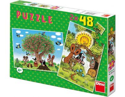 Dino 21381155 - Puzzle Léto s Krtečkem 2 x 48 dílků