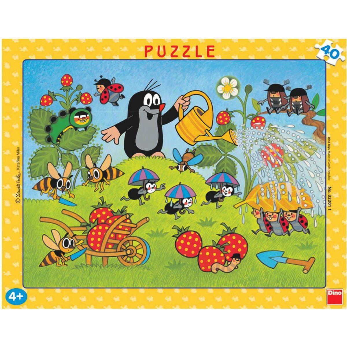 Dino Puzzle deskové Krtek v jahodách 40 dílků