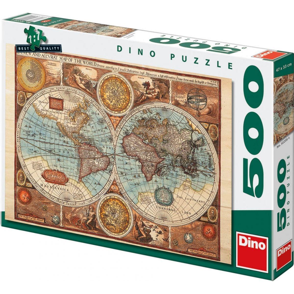Dino Puzzle Mapa světa z roku 1626