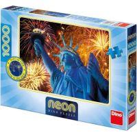 Dino Puzzle Neon Zářící Socha Svobody 1000 dílků