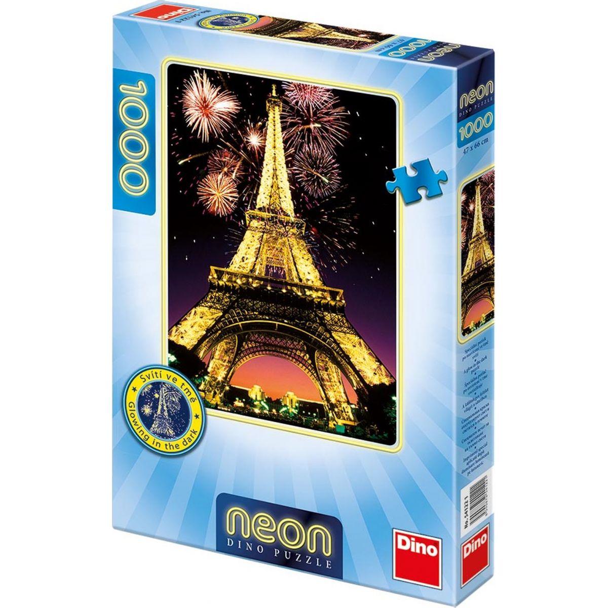 Dino Puzzle Noční Eiffelovka neon 1000 dílků