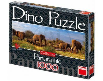 Dino Puzzle Panoramic Stádo slonů 1000 dílků