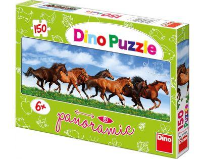 Dino Puzzle Panoramic Úprk koní 150 dílků