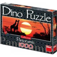 Dino Puzzle Panoramic Žirafy při západu slunce 1000 dílků