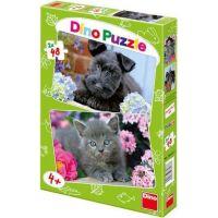 Dino Puzzle Pejsek a Kočička 2 x 48 dílků