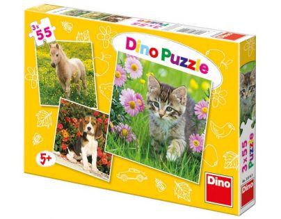 Dino Puzzle Zvířátka na zahradě 3 x 55 dílků