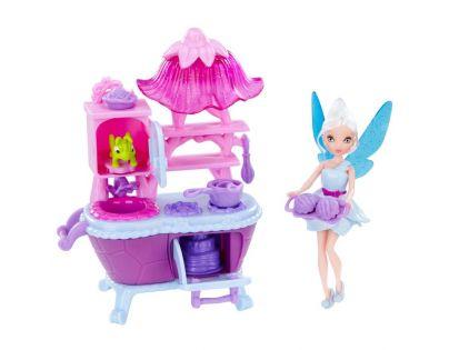 ADC Blackfire Disney Víly 11 cm panenka a velký hrací set - Víla Modrovločka s kuchyňským setem