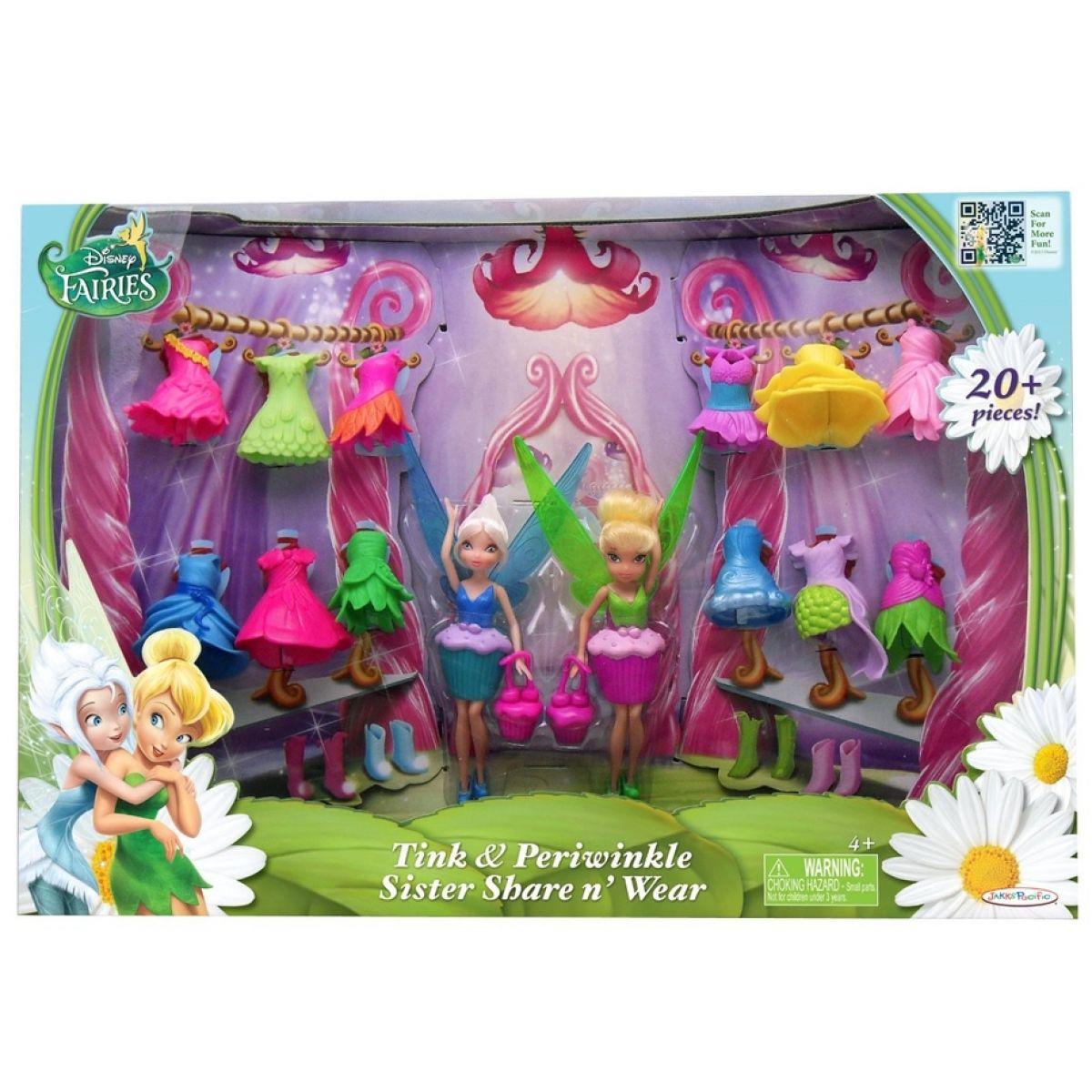 Disney Víly: 11 cm panenka a modní doplňky 2v1 - Zvonilka a Modrovločka