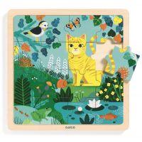 Djeco Dřevěné puzzle Kočka v zahradě