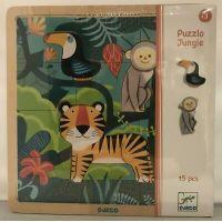 Djeco Drevené puzzle Tiger a priatelia 2