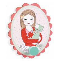 Djeco Malý věšák Dívka s kočkou