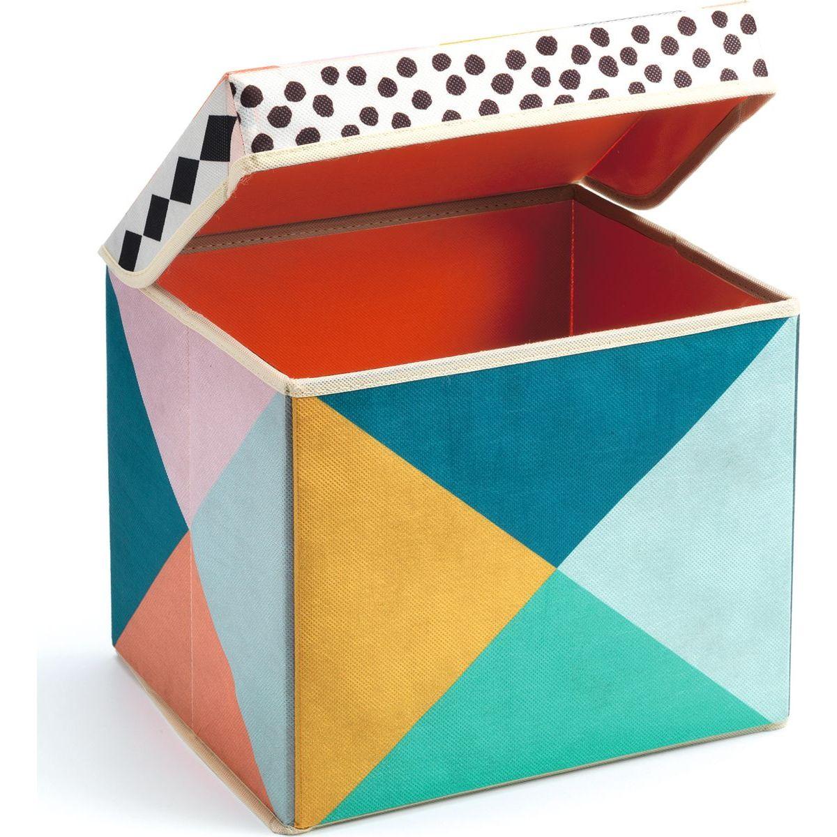 Djeco Pestrobarevná krabička na hračky kostka