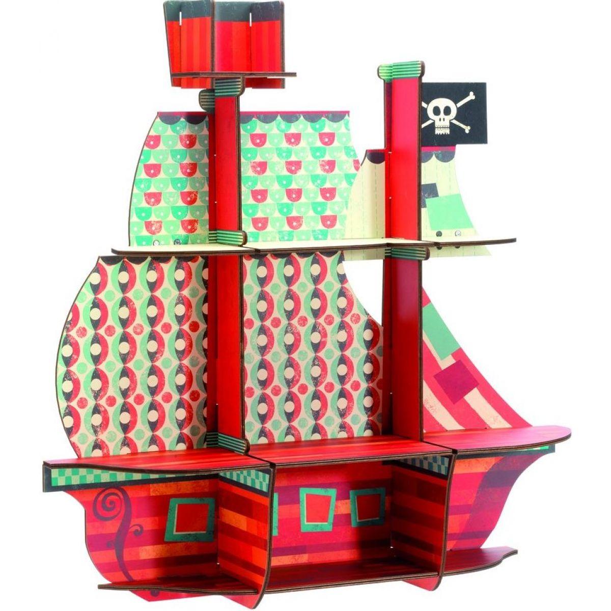 Djeco Dřevěná polička Pirátská loď na zeď