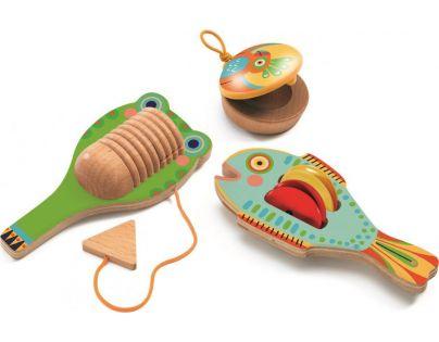 Djeco Sada hudebních nástrojů Kastaněty, činely rybička a guiro