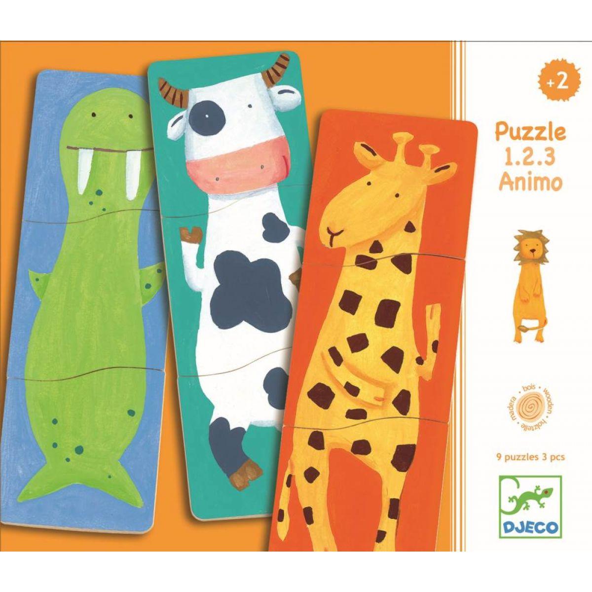 DJECO Dřevěné puzzle Veselá zvířátka