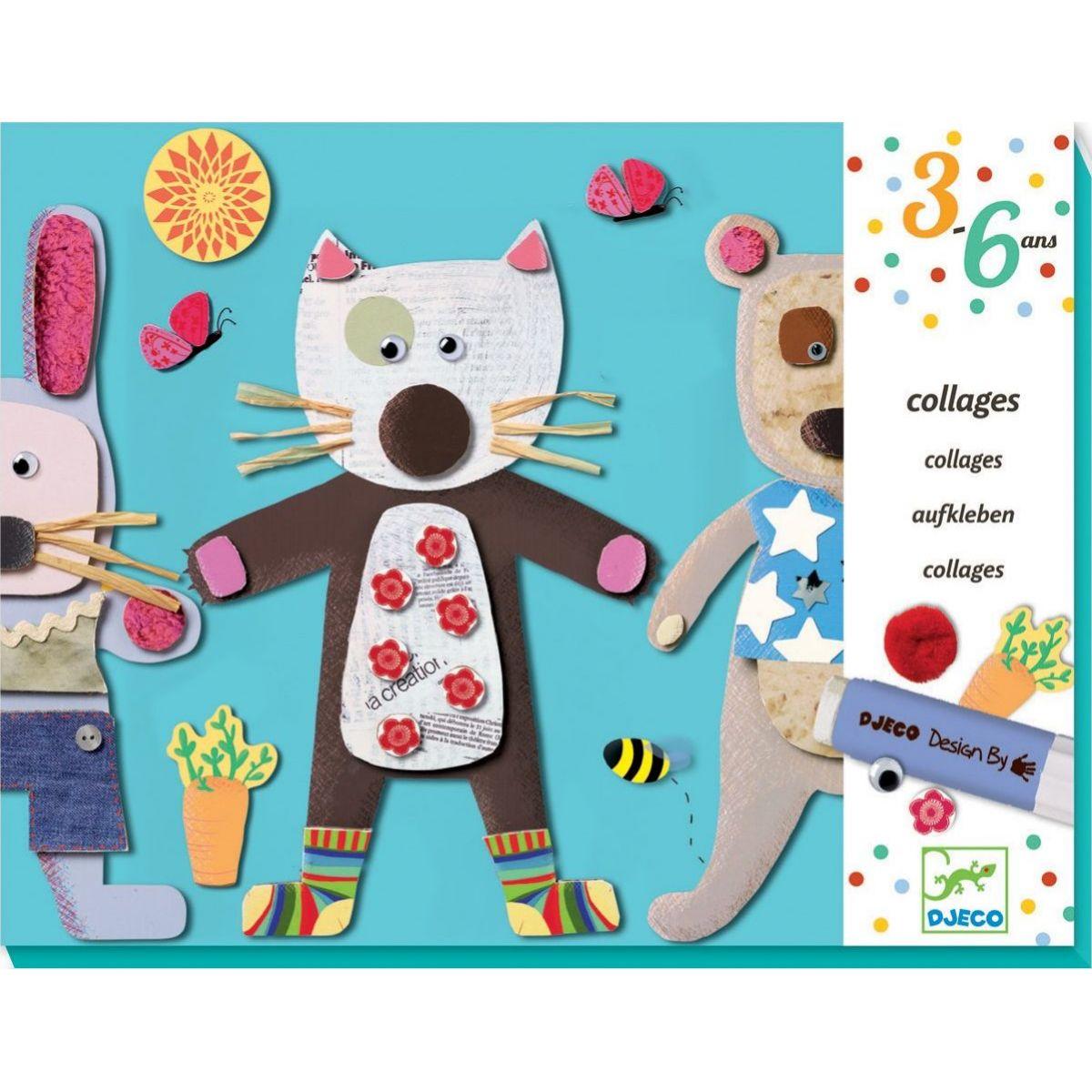 Djeco První koláž Kočička a medvídek