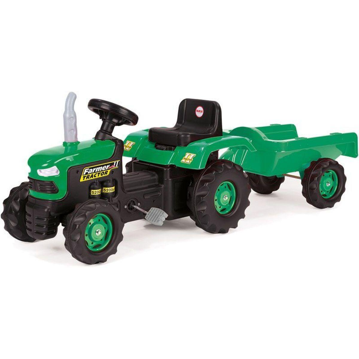 Dolu Dětský traktor šlapací s vlečkou zelený