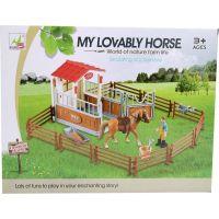 Made Dostihové centrum s koněm a ohradou hnědý kůň