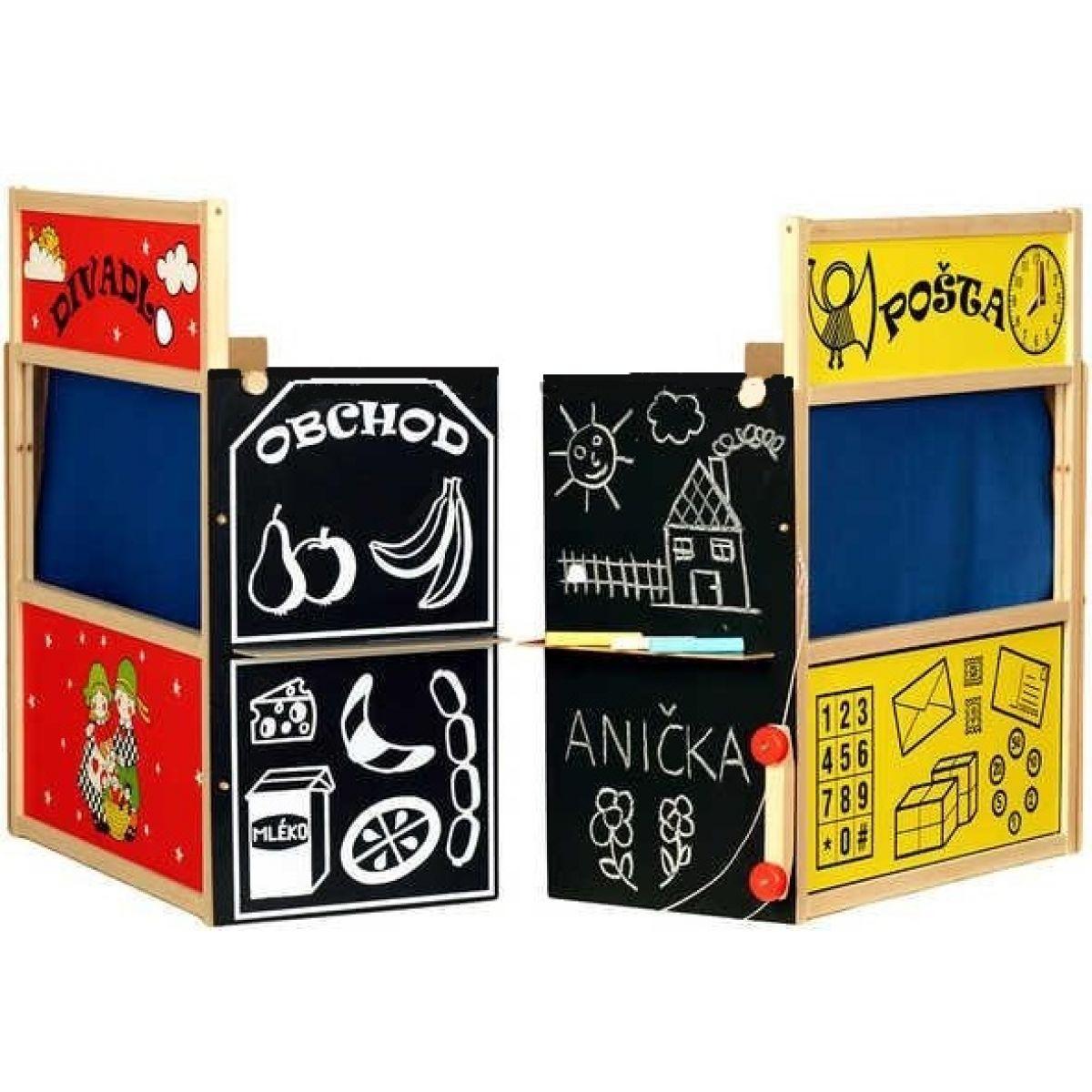 Dřevěná čtyřkombinace divadlo pošta obchod a tabulka
