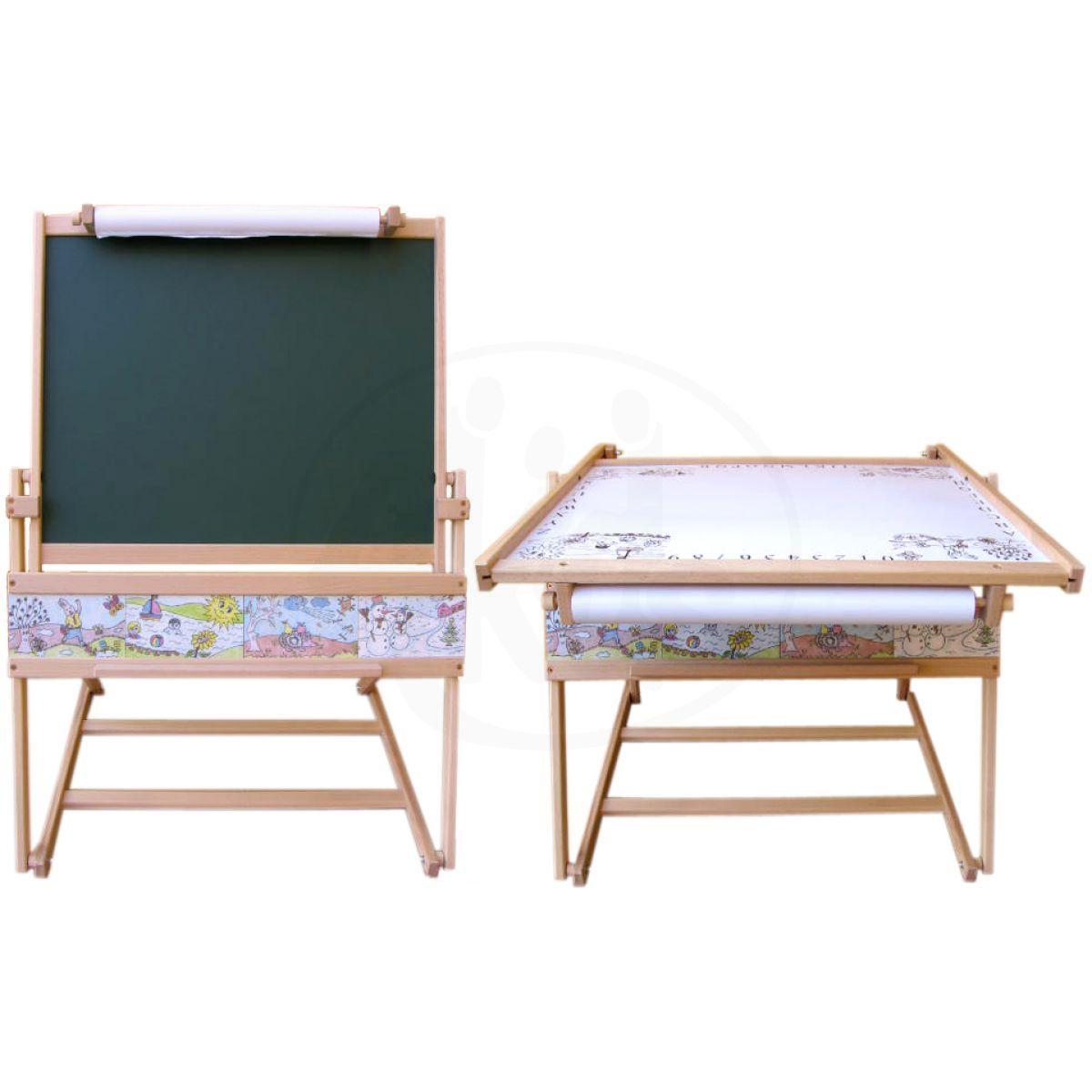 Dřevěná magnetická tabule a stolek 2v1